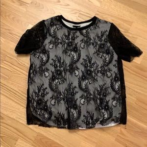 Black and white lacey short sleeve shirt